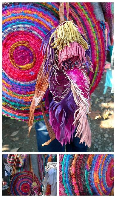 Handmade sari silk bag and leather feather tassel