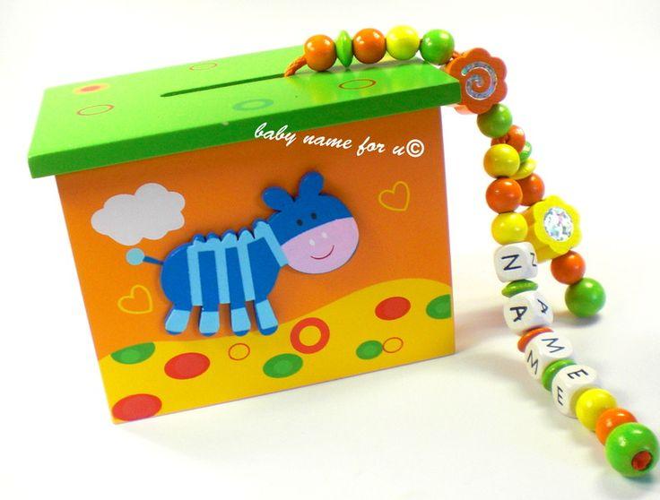 Spardose mit Namen  Zebra orange von Schnullerkette by baby name for u auf DaWanda.com