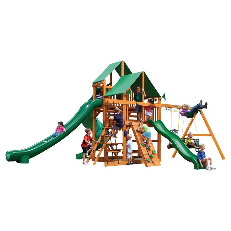 Gorilla Playsets Great Skye II Swing Set with Amber Posts & Deluxe Green Vinyl Canopy,