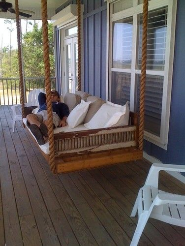 hanging day bed for the porch. Love it!