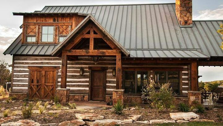 375 best cabin exterior ideas images on pinterest for Log cabin ranch homes
