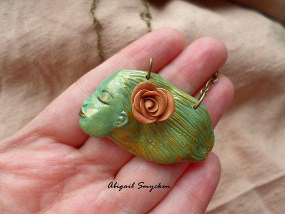 Art Nouveau Fairy Carved Necklace Sculpted Face by AbigailSmycken