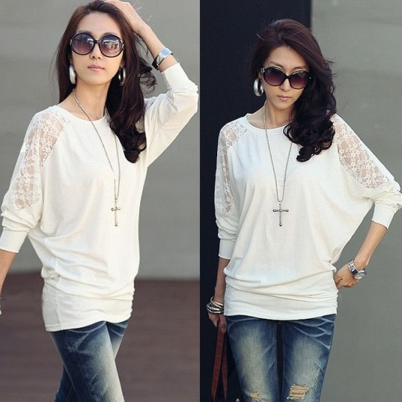 Womens Batwing Sleeve Tops Hollow Out Lace Spliced Loose T-Shirt Blouse New