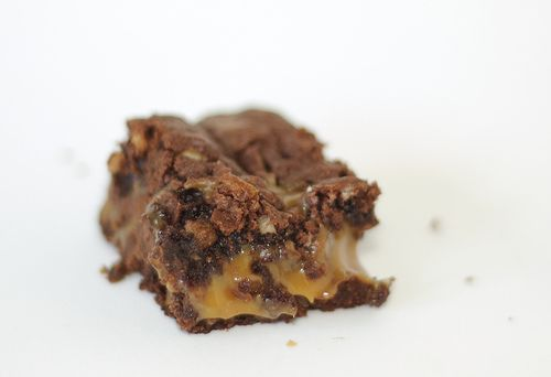 Chocolate Caramel Brownies. I like the substitutes this baker made. I want to try it without nuts.