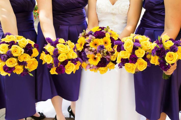 purple and yellow wedding flower bouquets