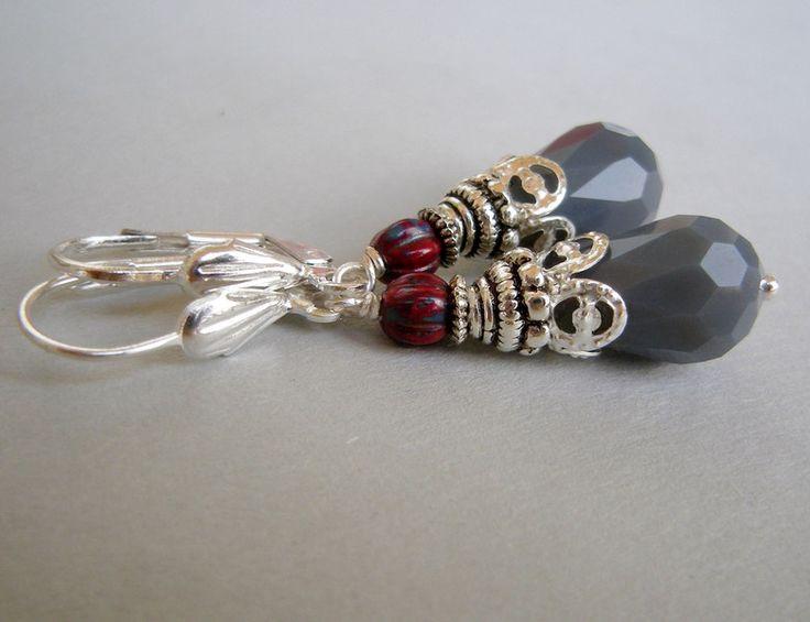 Ohrhänger - Ohrringe Tropfen Carico grau rot - ein Designerstück von lottedeluex bei DaWanda