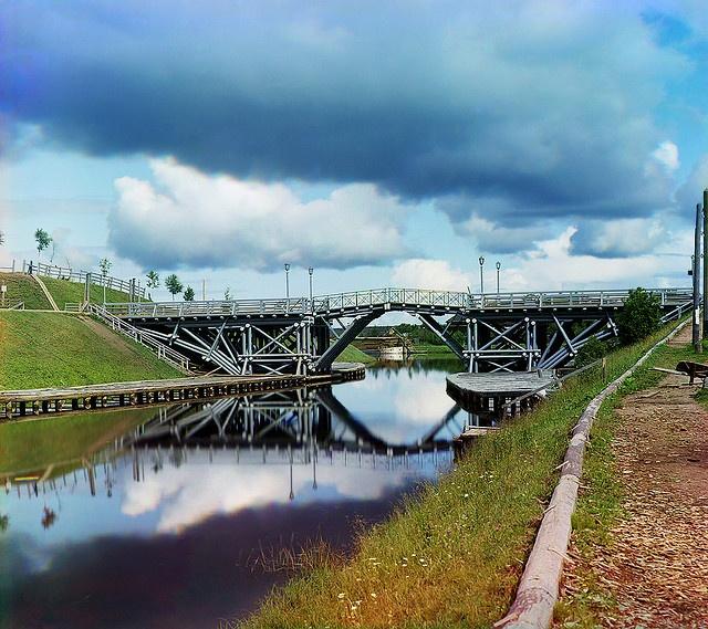Lifting bridge on the river Vytegra, 1909                           by  Sergey Prokudin-Gorsky