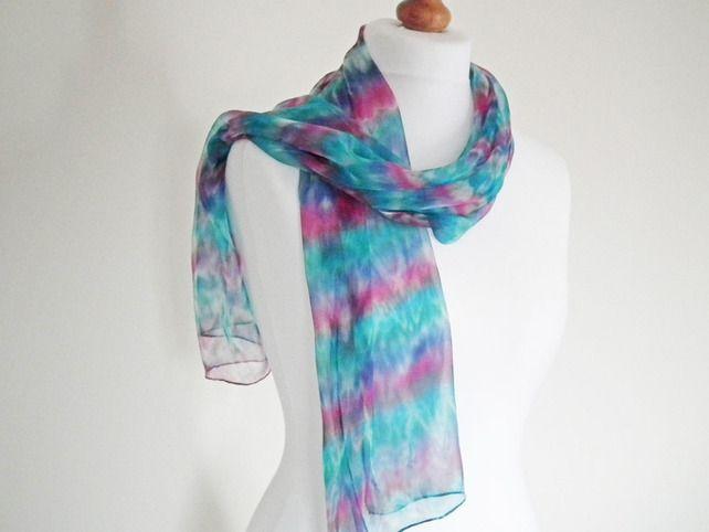 Hand Dyed Silk Chiffon Scarf, Long Scarf, Pink, Blue, Green £30.00