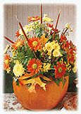 Pumpkin in Bloom | FamilyCorner.com® In about an hour you can create a dazzling centerpiece rich with tones and hues of the season. One 8″ diameter pumpkin, with 6″ diameter top removed and insides scooped out Small plastic container to fit into pumpkin Floral foam Floral tape 12 leatherleaf fern tips, each 5″-7″ long 5 pencil cattails...