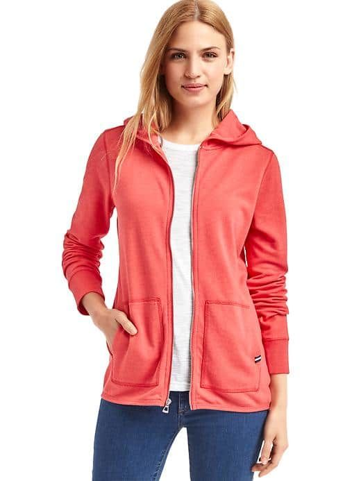 Zip-up Hoodie for MONKEY ARMS! Extra long sleeves!! Size Medium: new nordic red
