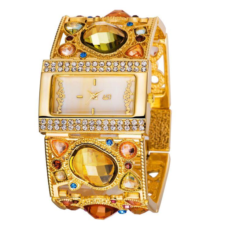 Купить товарЖенские золотые часы браслет с украшением из изящных разноцветных бриллиантов, Золотые модные часы в категории Часы-браслетына AliExpress.