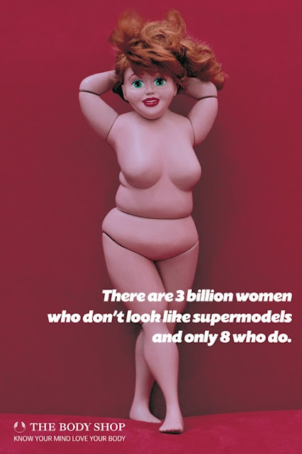 "The real sized ""barbie"" post card put out by the Body Shop, the doll was never allowed to be sold because of a lawsuit from Matel, the makers of the Barbie Doll tm."