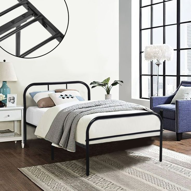Single Metal Bed Frame Coavas 3ft Single Adults Solid Bedstead Base with 2 Headboard Metal Bed Frame Black (Send 1 Window Film by Free): Amazon.co.uk: Kitchen & Home