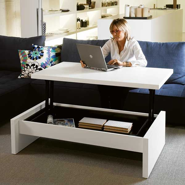 Coffee table that converts into a desk or table