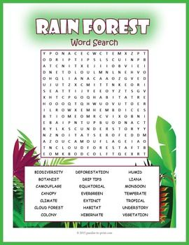 A word search puzzle featuring rainforest vocabulary words. Students will…