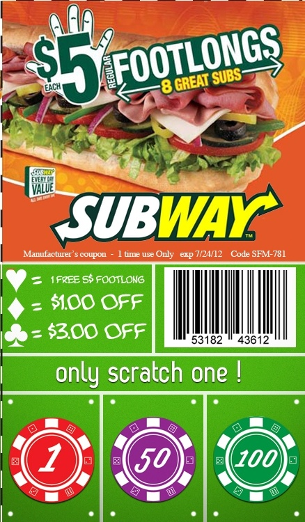 Subway Coupon From Postal Prizes