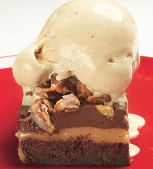Layered Brownies with White-Chocolate Caramel and Cacao Nib Gelato - YES. Oh, Yes.