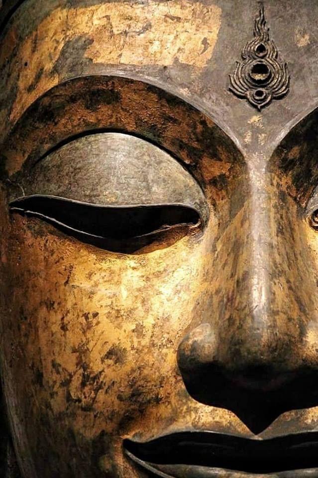 อุณาโลม บนพระนลาฏของเศียรพระพุทธรูปขนาดใหญ่ ที่พบในวิหาร