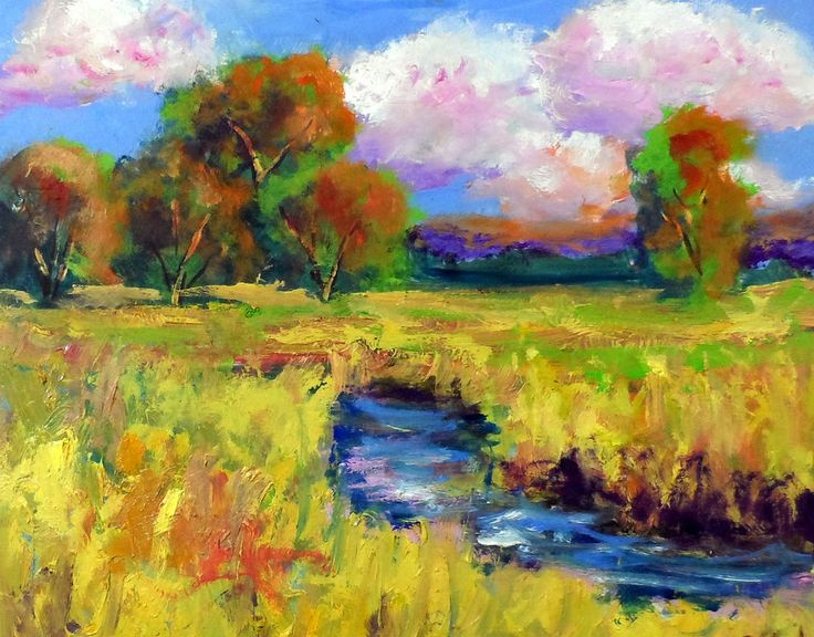 """new colorfull autum oil landscape painting 8x10"""" by Ken Burnside #Impressionism"""
