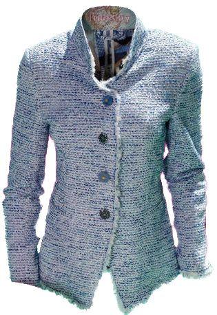 Jasje van Maiden Lane van blauwe stof met wit lint en een rafelige rand van tule.