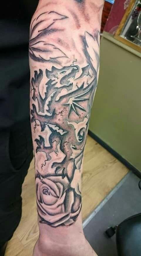 Welsh dragon english rose tatoo