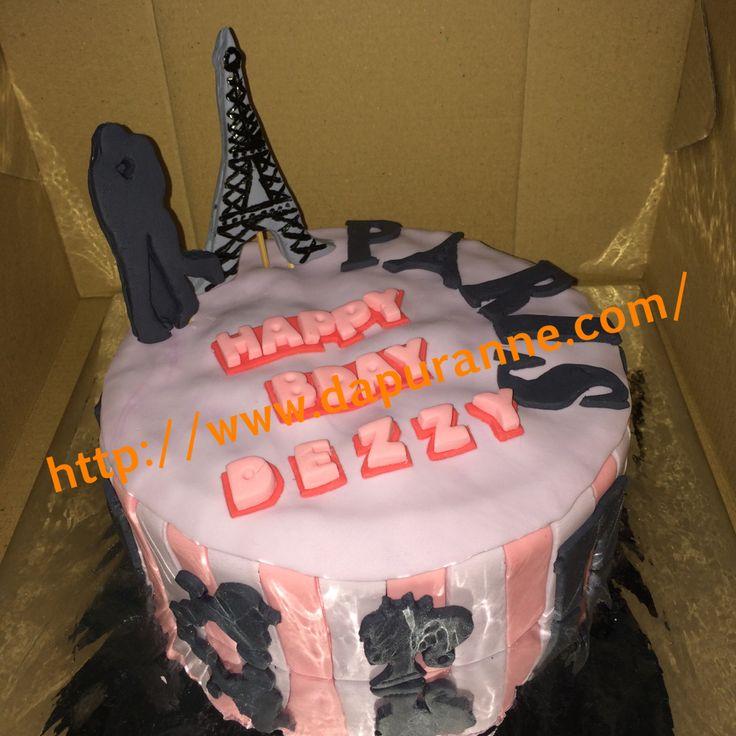 Paris themed fondant cake..