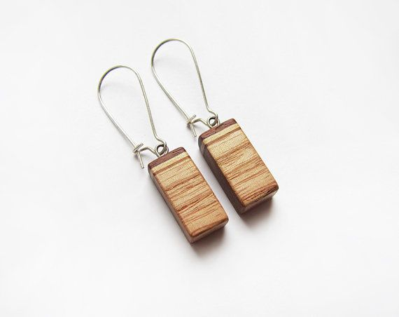Wooden earrings natural sumac wood ash wood by forEVAhairforks