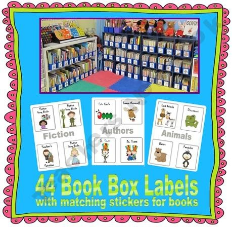 44 Labels for Book Boxes (Classroom Library)