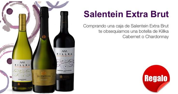 Con la compra de una caja de Salentein Extra Brut te obsequiamos una botella de Killka Cabernet o Chardonnay