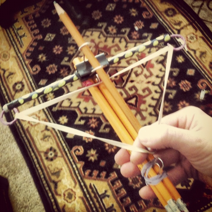 Pencil crossbow. #TheWalkingDead  Just think, I can arm and entertain my students