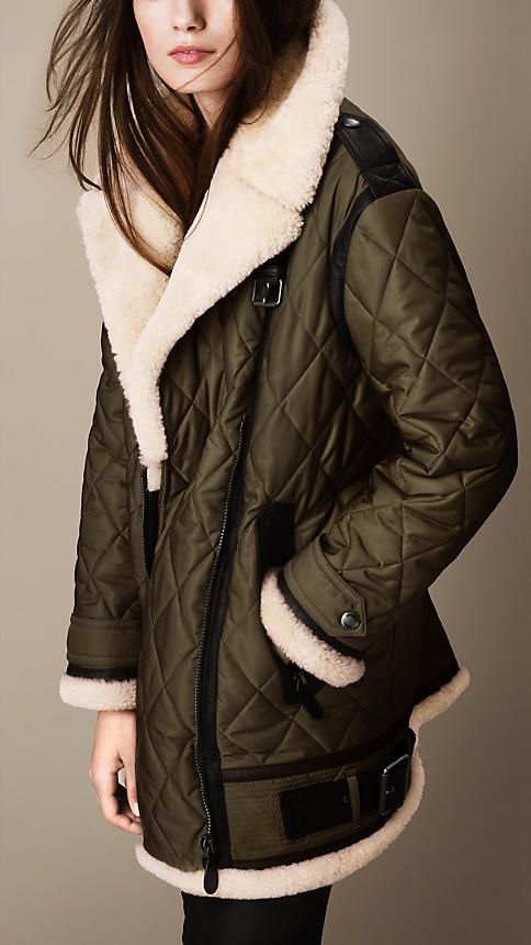 Oversize Quilted Aviator Jacket with Shearling Trim | Burberry
