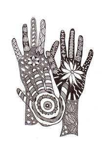 zentangle ... love the hand creating the space