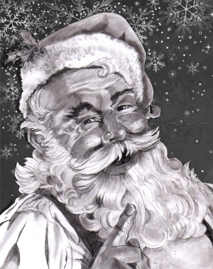 how to draw a realistic santa, santa claus
