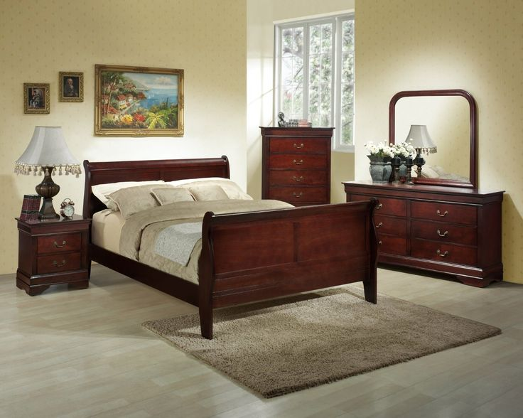 Bedroom Sets Cherry Wood louis philippe cherry wood king size bedroom set. amazon com louis