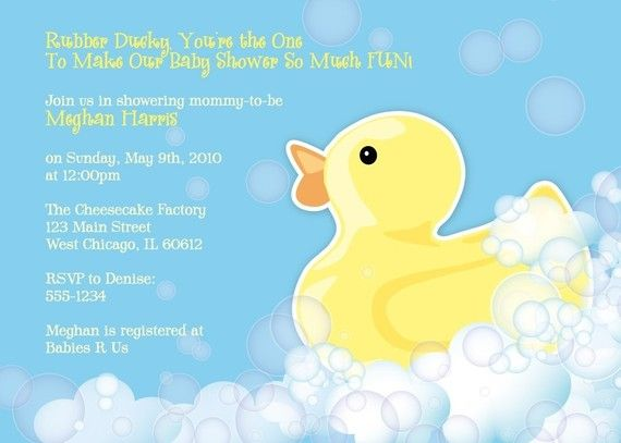 Rubber Duckie Baby Shower Invitation  Printable Design