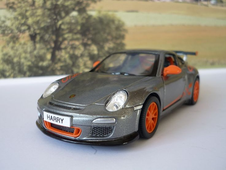 Personalised Plates Gift 2010 Grey Porsche 911 Boys Toy Car