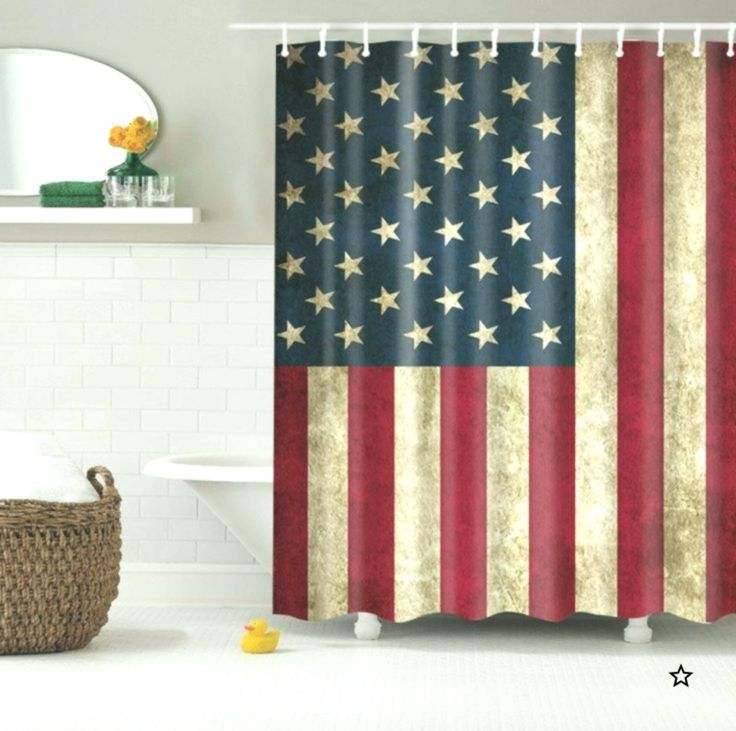 Details About Retro American Flag Pattern Custom Shower Curtain
