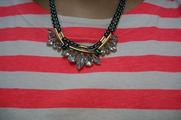 necklace, h&m, orange striped, stripe t-shirts, fashion, dailylook, woman