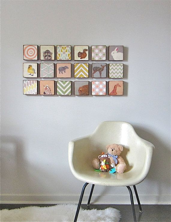 Nursery Art Block 5x5 Nine 9 Set Animals Geometric Collection Child Decor Baby  5x5 Geometric redtilestudio wood