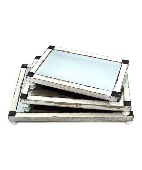 Vintage Mirror Tray - Set of Three | zulily