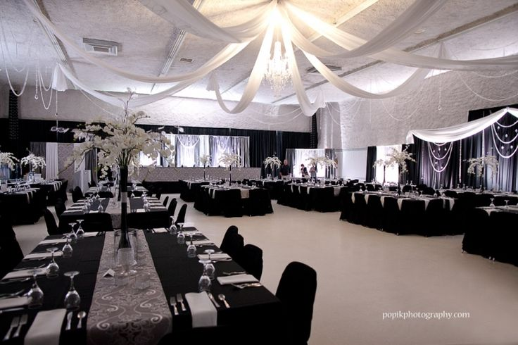 Wedding decor by dar 39 s decorating with grey and silver damasks black and white silks crystal - Black silver and white party decorations ...