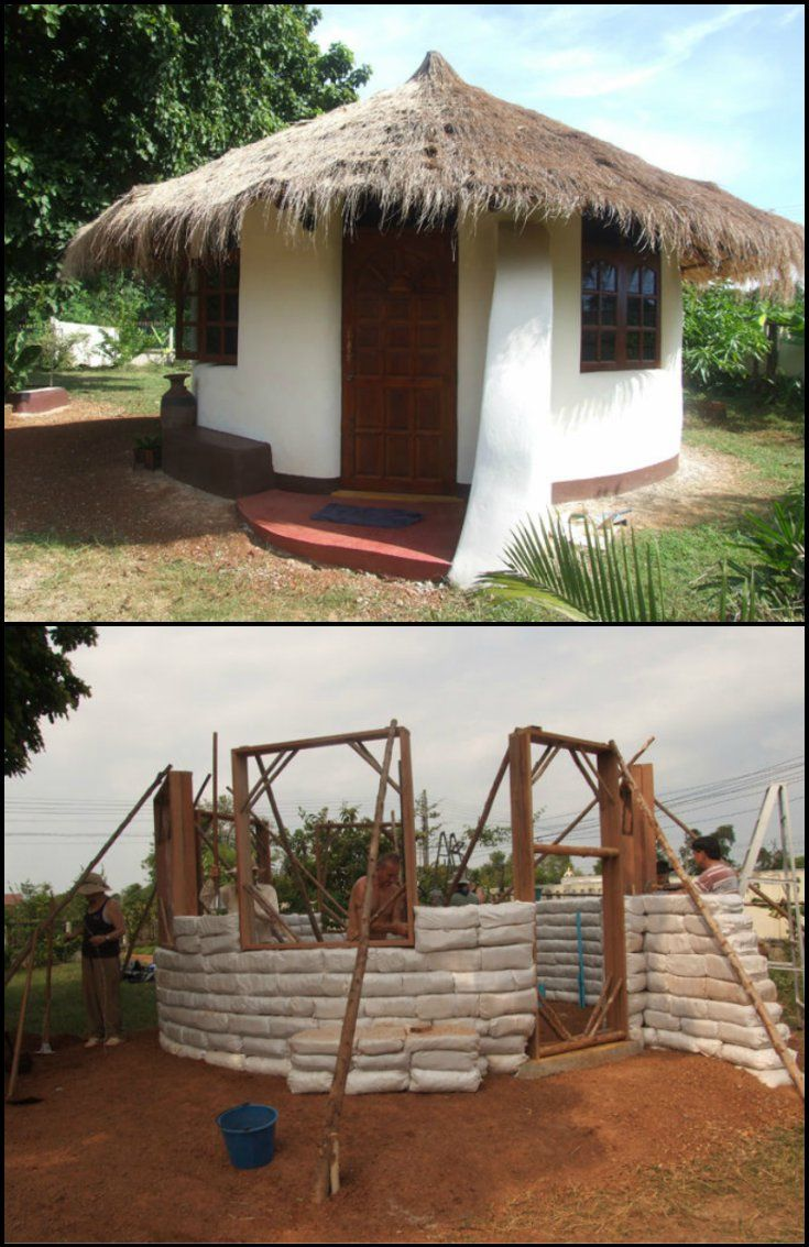 How To Build An Earthbag Round House  http://diyprojects.ideas2live4.com/2014/12/13/diy-earthbag-round-house/  This interesting home is made from earthbags. Aside from being durable structures, earthbag homes are also cheap. Bags can be filled with either dirt from the property itself, or other available sources. It can be built practically anywhere in the world.