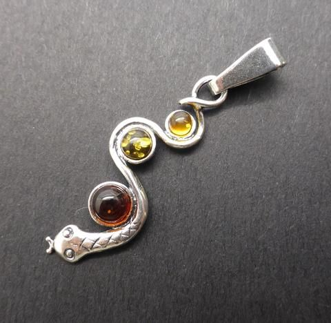 Genuine Baltic Amber Snake Pendant | 925 Sterling Silver | Starstone for Leo | Luck Prosperity Health | Crystal Heart Melbourne Australia since 1986