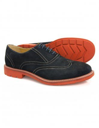 Steptronic Laser - Navy Suede Lace Brogue Shoes