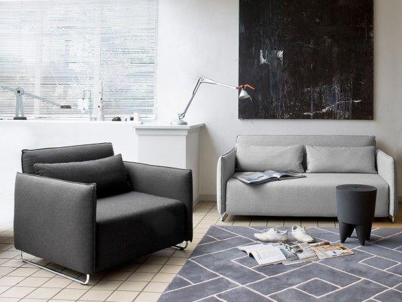 sofa bed & sofa/chair color tone. Softline Cord Single Sofa Bed