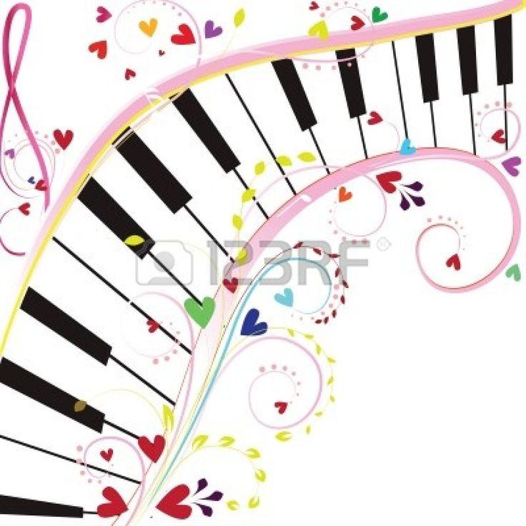 piano #keyboard - Tastiera del pianoforte su uno sfondo bianco con note e cuori