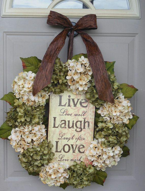 Spring Hydrangeas Front Door Wreaths Traditional Wreaths by bndd, $110.00
