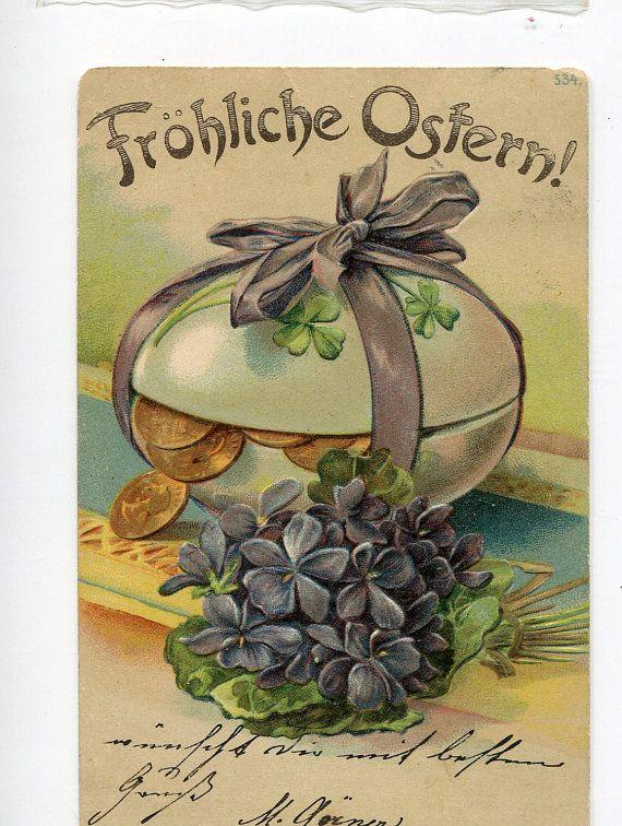116 best easter images on pinterest vintage cards easter card and vintage easter greetings postcard big egg violets coins m4hsunfo