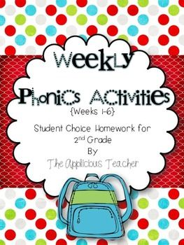 Weekly Phonics Activities Homework for 2nd Grade (Weeks 1-6) *Paces well with the Macmillan Treasures Reading Series*