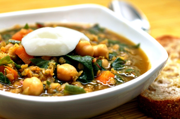 Curried Red Lentil, Swiss Chard & Chickpea Soup (cold weather...ahhh...January dreamin' - is that a thing?): Curries Red, Chickpeas Soups, Chickpea Soup, Chickpeasoup, Red Lentils, Recipes, Comforter Food, Swiss Chard, Healthy Soups
